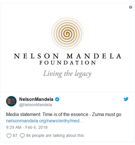 Twitter post by @NelsonMandela: Media statement  Time is of the essence - Zuma must go