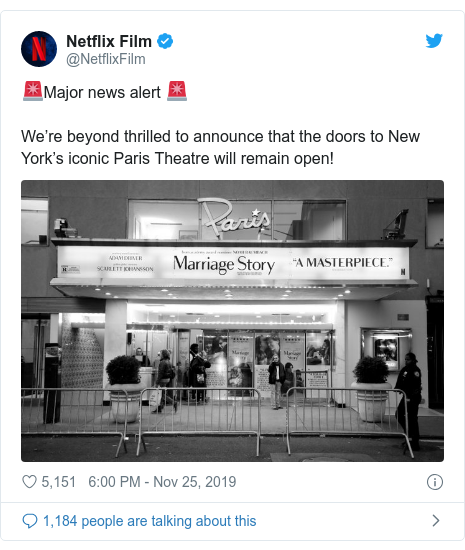 Twitter post by @NetflixFilm: 🚨Major news alert 🚨We're beyond thrilled to announce that the doors to New York's iconic Paris Theatre will remain open!
