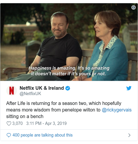 Twitter post by @NetflixUK: After Life is returning for a season two, which hopefully means more wisdom from penelope wilton to @rickygervais sitting on a bench