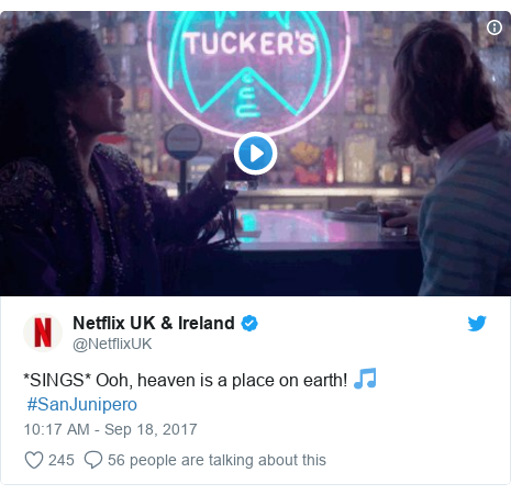 Twitter post by @NetflixUK: *SINGS* Ooh, heaven is a place on earth! 🎵#SanJunipero