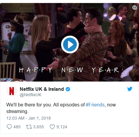 Twitter post by @NetflixUK: We'll be there for you. All episodes of #Friends, now streaming.