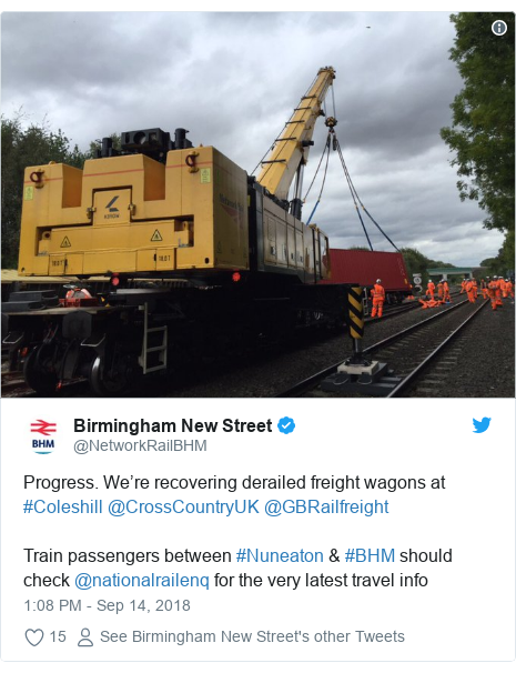 Twitter post by @NetworkRailBHM: Progress. We're recovering derailed freight wagons at #Coleshill @CrossCountryUK @GBRailfreight Train passengers between #Nuneaton & #BHM should check @nationalrailenq for the very latest travel info