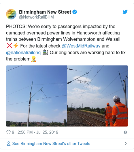 Twitter post by @NetworkRailBHM: PHOTOS  We're sorry to passengers impacted by the damaged overhead power lines in Handsworth affecting trains between Birmingham Wolverhampton and Walsall ❌⚡️ For the latest check @WestMidRailway and @nationalrailenq 🚉 Our engineers are working hard to fix the problem👷‍♂️
