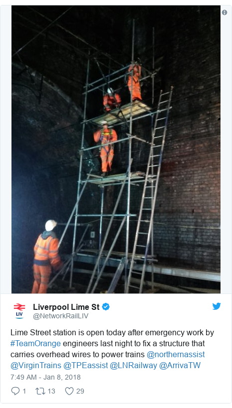Twitter post by @NetworkRailLIV: Lime Street station is open today after emergency work by #TeamOrange engineers last night to fix a structure that carries overhead wires to power trains @northernassist @VirginTrains @TPEassist @LNRailway @ArrivaTW