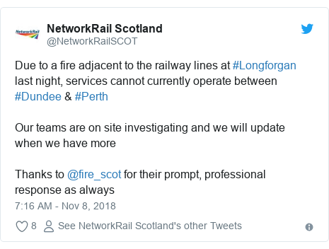 Twitter post by @NetworkRailSCOT: Due to a fire adjacent to the railway lines at #Longforgan last night, services cannot currently operate between #Dundee & #Perth Our teams are on site investigating and we will update when we have more Thanks to @fire_scot for their prompt, professional response as always