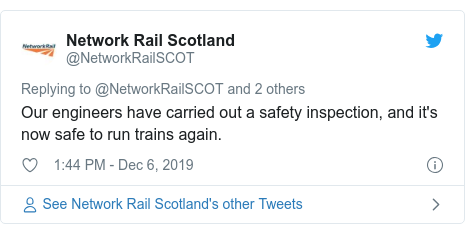 Twitter post by @NetworkRailSCOT: Our engineers have carried out a safety inspection, and it's now safe to run trains again.