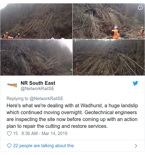 Twitter post by @NetworkRailSE: Here's what we're dealing with at Wadhurst, a huge landslip which continued moving overnight. Geotechnical engineers are inspecting the site now before coming up with an action plan to repair the cutting and restore services.