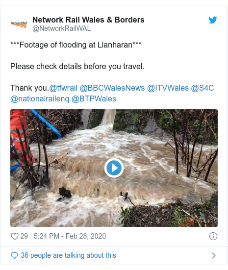Twitter post by @NetworkRailWAL: ***Footage of flooding at Llanharan***Please check details before you travel.Thank you.@tfwrail @BBCWalesNews @ITVWales @S4C @nationalrailenq @BTPWales