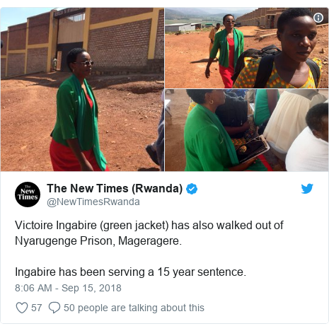 Twitter post by @NewTimesRwanda: Victoire Ingabire (green jacket) has also walked out of Nyarugenge Prison, Mageragere.Ingabire has been serving a 15 year sentence.