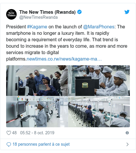 Twitter publication par @NewTimesRwanda: President #Kagame on the launch of @MaraPhones  The smartphone is no longer a luxury item. It is rapidly becoming a requirement of everyday life. That trend is bound to increase in the years to come, as more and more services migrate to digital platforms.