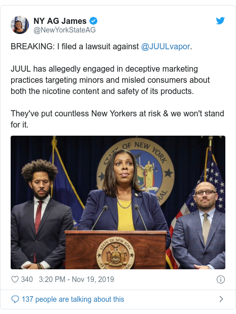 Twitter post by @NewYorkStateAG: BREAKING  I filed a lawsuit against @JUULvapor.JUUL has allegedly engaged in deceptive marketing practices targeting minors and misled consumers about both the nicotine content and safety of its products.They've put countless New Yorkers at risk & we won't stand for it.