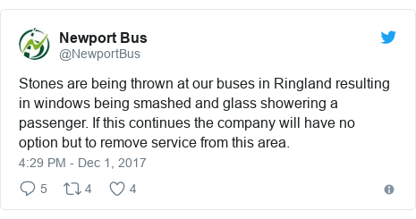 Twitter post by @NewportBus: Stones are being thrown at our buses in Ringland resulting in windows being smashed and glass showering a passenger. If this continues the company will have no option but to remove service from this area.