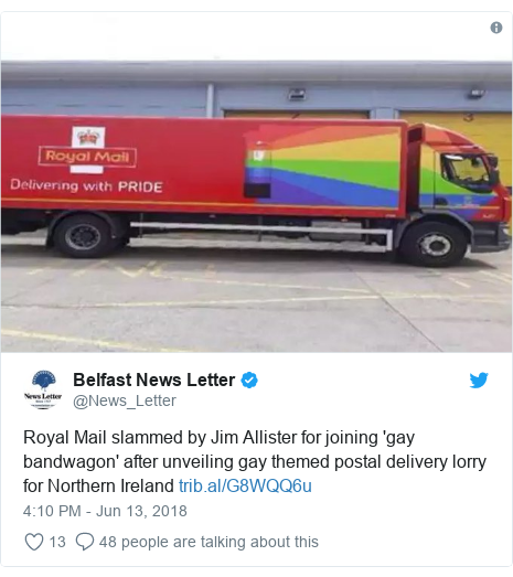 Twitter post by @News_Letter: Royal Mail slammed by Jim Allister for joining 'gay bandwagon' after unveiling gay themed postal delivery lorry for Northern Ireland