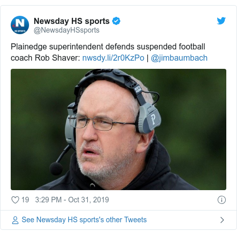 Twitter post by @NewsdayHSsports: Plainedge superintendent defends suspended football coach Rob Shaver   | @jimbaumbach