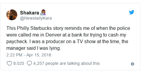 Twitter post by @NewsladyKara: This Philly Starbucks story reminds me of when the police were called me in Denver at a bank for trying to cash my paycheck. I was a producer on a TV show at the time, the manager said I was lying.