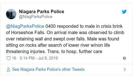 Twitter post by @NiagParksPolice: @NiagParksPolice 0400 responded to male in crisis brink of Horseshoe Falls. On arrival male was observed to climb over retaining wall and swept over falls. Male was found sitting on rocks after search of lower river w/non life threatening injuries. Trans. to hosp. further care