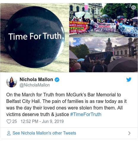 Twitter post by @NicholaMallon: On the March for Truth from McGurk's Bar Memorial to Belfast City Hall. The pain of families is as raw today as it was the day their loved ones were stolen from them. All victims deserve truth & justice #TimeForTruth