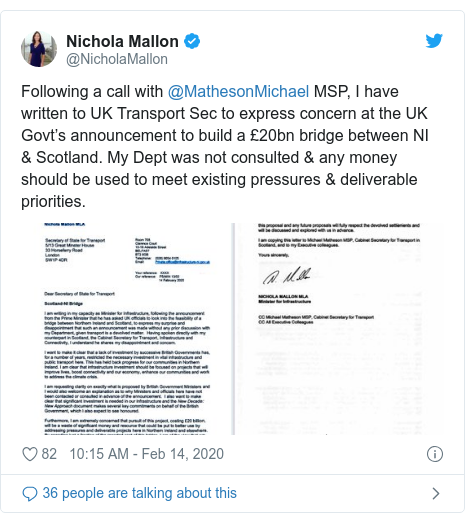 Twitter post by @NicholaMallon: Following a call with @MathesonMichael MSP, I have written to UK Transport Sec to express concern at the UK Govt's announcement to build a £20bn bridge between NI & Scotland. My Dept was not consulted & any money should be used to meet existing pressures & deliverable priorities.