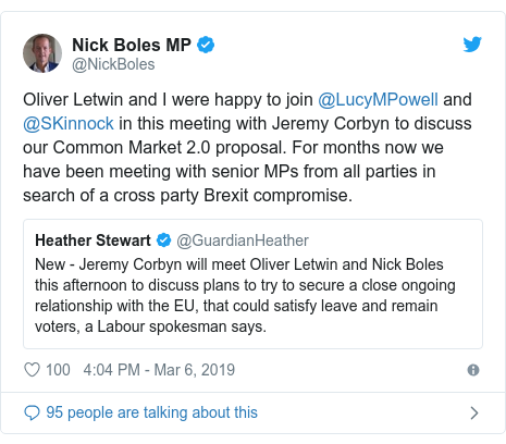 Twitter post by @NickBoles: Oliver Letwin and I were happy to join @LucyMPowell and @SKinnock in this meeting with Jeremy Corbyn to discuss our Common Market 2.0 proposal. For months now we have been meeting with senior MPs from all parties in search of a cross party Brexit compromise.