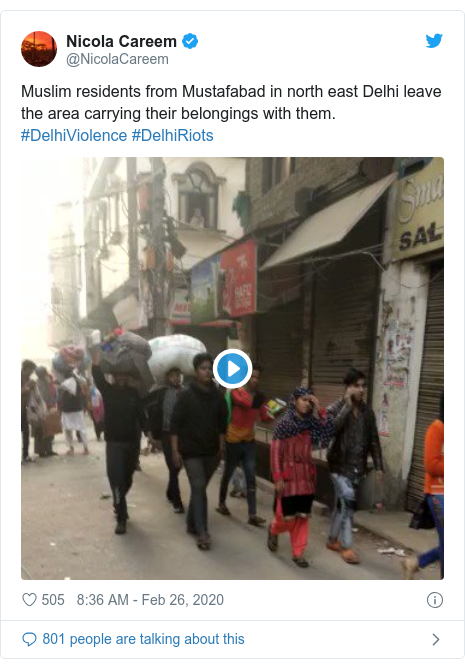 Twitter post by @NicolaCareem: Muslim residents from Mustafabad in north east Delhi leave the area carrying their belongings with them. #DelhiViolence #DelhiRiots