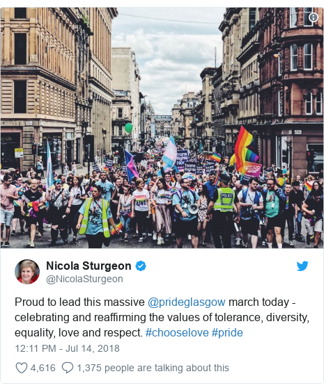 Twitter post by @NicolaSturgeon: Proud to lead this massive @prideglasgow march today - celebrating and reaffirming the values of tolerance, diversity, equality, love and respect. #chooselove #pride