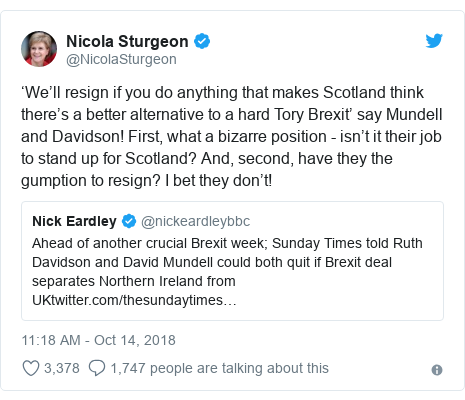 Twitter post by @NicolaSturgeon: 'We'll resign if you do anything that makes Scotland think there's a better alternative to a hard Tory Brexit' say Mundell and Davidson! First, what a bizarre position - isn't it their job to stand up for Scotland? And, second, have they the gumption to resign? I bet they don't!