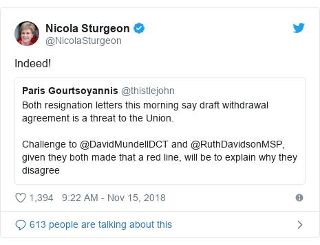 Twitter post by @NicolaSturgeon: Indeed!
