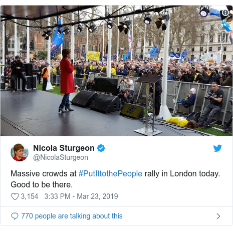 Twitter post by @NicolaSturgeon: Massive crowds at #PutIttothePeople rally in London today. Good to be there.