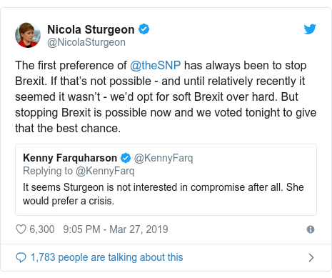Twitter post by @NicolaSturgeon: The first preference of @theSNP has always been to stop Brexit. If that's not possible - and until relatively recently it seemed it wasn't - we'd opt for soft Brexit over hard. But stopping Brexit is possible now and we voted tonight to give that the best chance.