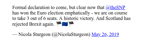Twitter post by @NicolaSturgeon: Formal declaration to come, but clear now that @theSNP has won the Euro election emphatically - we are on course to take 3 out of 6 seats. A historic victory. And Scotland has rejected Brexit again. 🏴󠁧󠁢󠁳󠁣󠁴󠁿🇪🇺🏴󠁧󠁢󠁳󠁣󠁴󠁿
