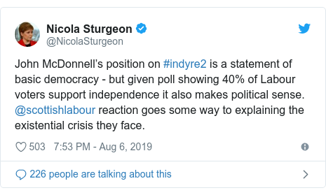 Twitter post by @NicolaSturgeon: John McDonnell's position on #indyre2 is a statement of basic democracy - but given poll showing 40% of Labour voters support independence it also makes political sense. @scottishlabour reaction goes some way to explaining the existential crisis they face.