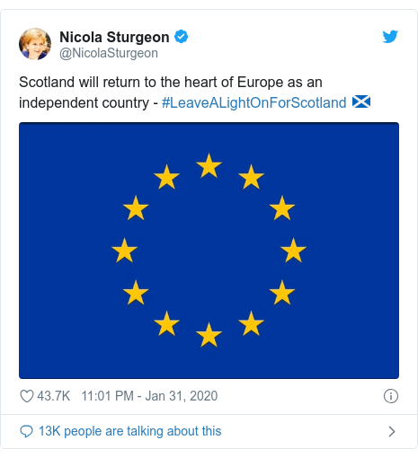 Twitter post by @NicolaSturgeon: Scotland will return to the heart of Europe as an independent country - #LeaveALightOnForScotland 🏴󠁧󠁢󠁳󠁣󠁴󠁿