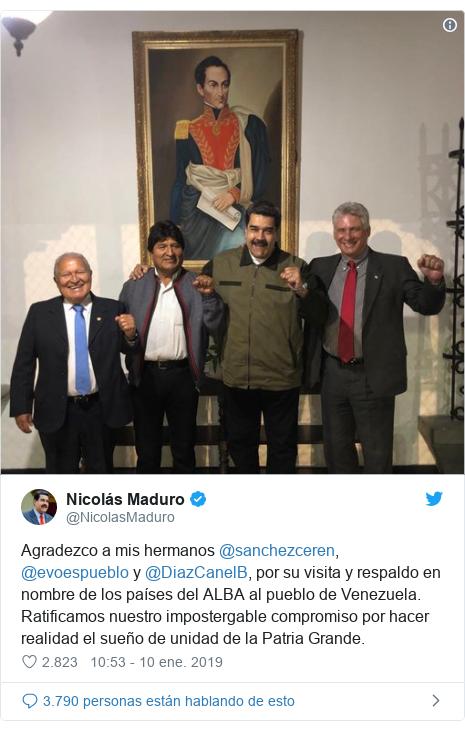Publicación de Twitter por @NicolasMaduro: Agradezco a mis hermanos @sanchezceren, @evoespueblo y @DiazCanelB, por su visita y respaldo en nombre de los países del ALBA al pueblo de Venezuela. Ratificamos nuestro impostergable compromiso por hacer realidad el sueño de unidad de la Patria Grande.