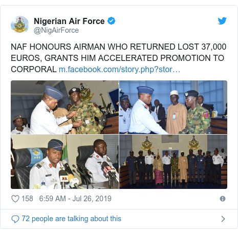 Twitter post by @NigAirForce: NAF HONOURS AIRMAN WHO RETURNED LOST 37,000 EUROS, GRANTS HIM ACCELERATED PROMOTION TO CORPORAL