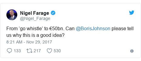 Twitter post by @Nigel_Farage: From 'go whistle' to €50bn. Can @BorisJohnson please tell us why this is a good idea?