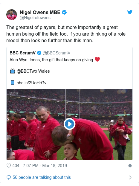 Twitter post by @Nigelrefowens: The greatest of players, but more importantly a great human being off the field too. If you are thinking of a role model then look no further than this man.