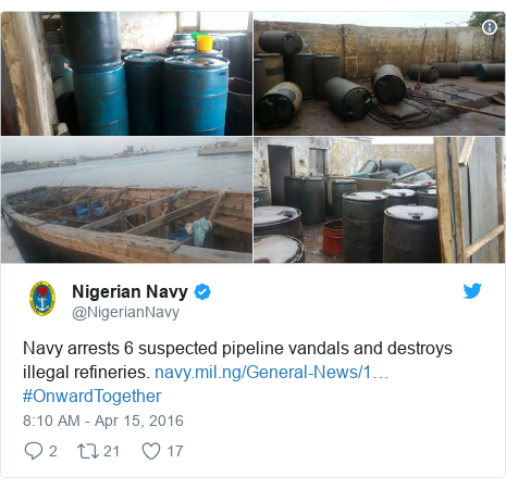 Twitter post by @NigerianNavy: Navy arrests 6 suspected pipeline vandals and destroys illegal refineries.  #OnwardTogether