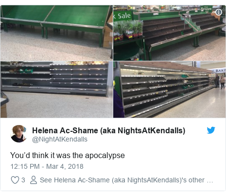 Twitter post by @NightAtKendalls: You'd think it was the apocalypse