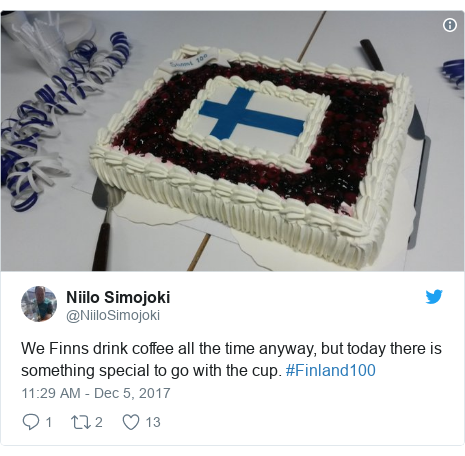 Twitter post by @NiiloSimojoki: We Finns drink coffee all the time anyway, but today there is something special to go with the cup. #Finland100