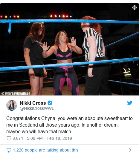 Twitter post by @NikkiCrossWWE: Congratulations Chyna, you were an absolute sweetheart to me in Scotland all those years ago. In another dream, maybe we will have that match....