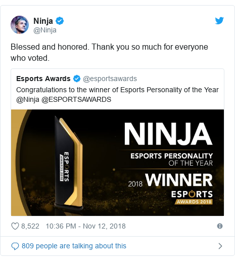Twitter post by @Ninja: Blessed and honored. Thank you so much for everyone who voted.