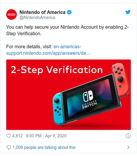 Twitter post by @NintendoAmerica: You can help secure your Nintendo Account by enabling 2-Step Verification.For more details, visit