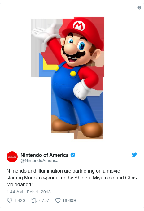 Twitter post by @NintendoAmerica: Nintendo and Illumination are partnering on a movie starring Mario, co-produced by Shigeru Miyamoto and Chris Meledandri!