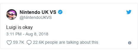 Twitter post by @NintendoUKVS: Luigi is okay