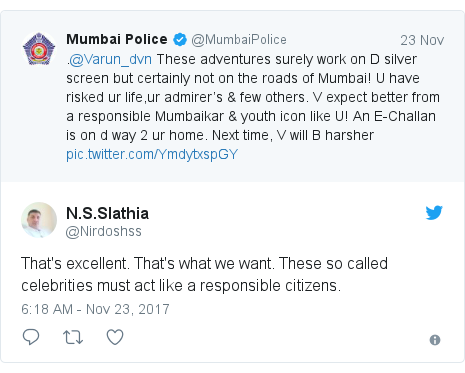 Twitter post by @Nirdoshss: That's excellent. That's what we want. These so called celebrities must act like a responsible citizens.