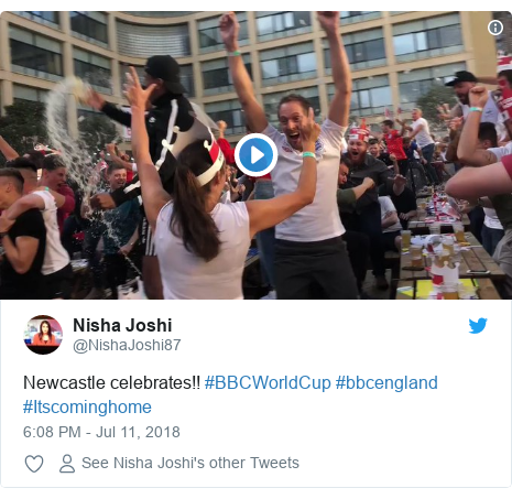 Twitter post by @NishaJoshi87: Newcastle celebrates!! #BBCWorldCup #bbcengland #Itscominghome