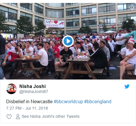 Twitter post by @NishaJoshi87: Disbelief in Newcastle #bbcworldcup #bbcengland
