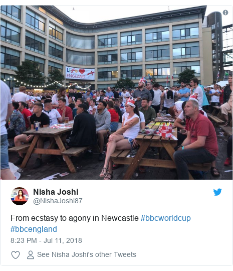 Twitter post by @NishaJoshi87: From ecstasy to agony in Newcastle #bbcworldcup #bbcengland