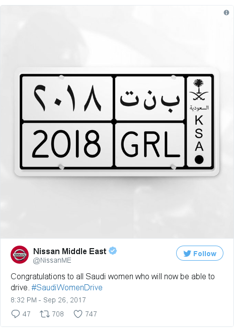 Twitter post by @NissanME: Congratulations to all Saudi women who will now be able to drive. #SaudiWomenDrive pic.twitter.com/g3p8276rOr