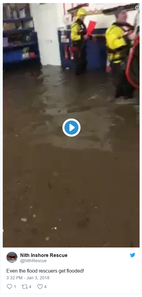 Twitter post by @NithRescue: Even the flood rescuers get flooded!